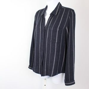 Cloth & Stone blue white long sleeve button up top